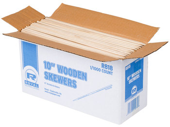 Picture of item 222-221 a WOOD SKEWERS 10  1M/BOX. FOR SHISH KABOBS OR FRUIT KABOBS 1/8 THICK REPLACES 222-220.